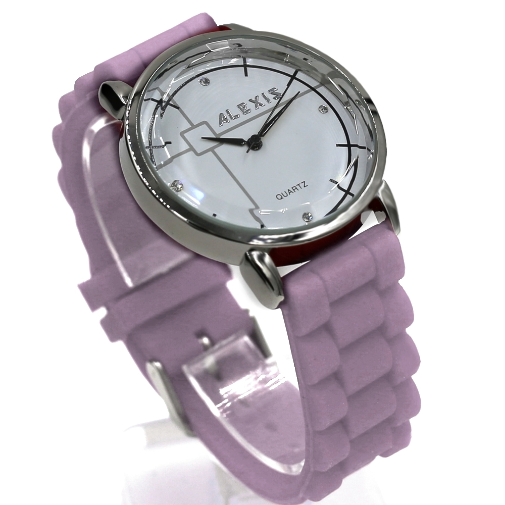 Round Elegant Ladies Watches White Dial PNP Shiny Silver Watchcase Silicone Jelly Rubber Light Purple Color Band FW824M(China (Mainland))