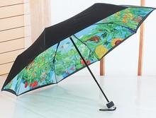 New creative gift black coating sunny and rainy folding totoro umbrella Vinyl UV blue black color (China (Mainland))