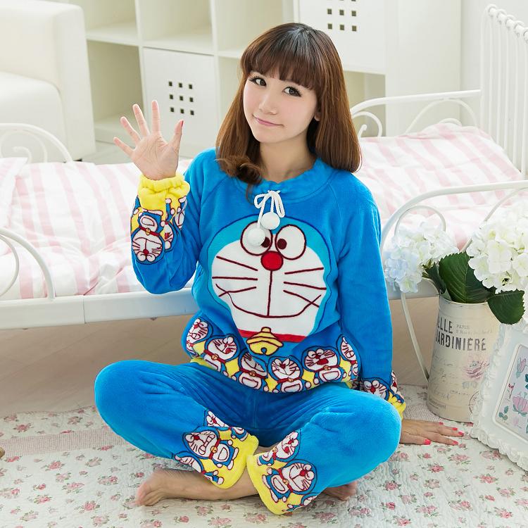 Осень и зима утолщение ватки пижамы женщин мультфильм зима twinset с длинными рукавами фланель гостиная