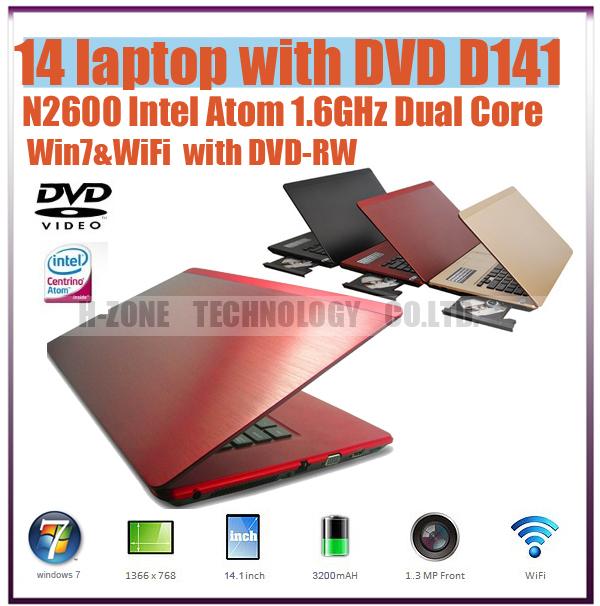 DHL Free Metal Case Laptop With DVD Burner 14.1 Inch Laptop Notebook Intel Atom N2600 3.5w Dual Core 1.6GHz 4GB RAM Bluetooth(Hong Kong)