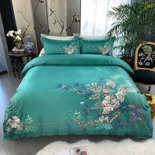 Birds Plant print 800TC Egyptian Cotton Silky Duver cover Bed set Luxury Bedding Set Queen King size Bed sheet set Pillow shams(China)