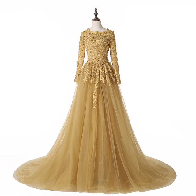 Vintage Wedding Dresses Gold : New vintage lace gold wedding dresses real image scoop neckline