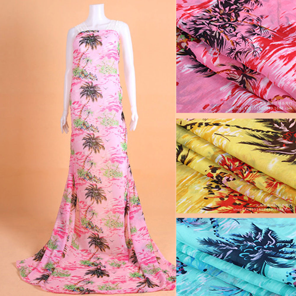 5Meter/Lot 150cm Width Coconut Palm Resort Style Silk Fabric Chiffon Print Fabric Textile For Dress Cloth Scarf(China (Mainland))