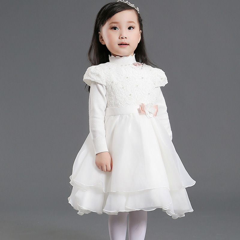 Crew Neck Autumn Girls Dress Flower Beads Wedding Chiffon Birthday Party Pageant Organza Baby - Dongguan Jiahao Apparel & Fashion Co., Ltd store