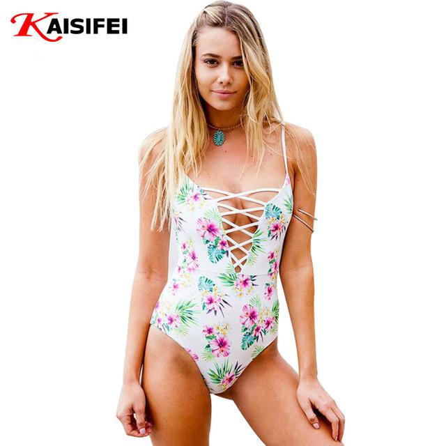 2016 сексуальные одна часть купальник женщин бразильский купальный костюм сокрытия пляж боди печать бинты монокини купальник