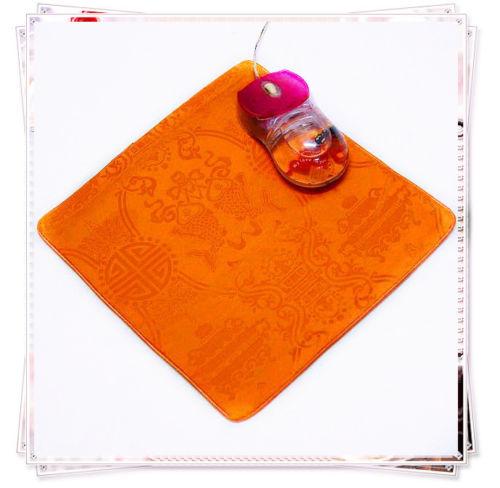 1PCS 22*2cm Chinese Style Handmade Vintage Silk Brocade Rubber Orange Mouse Pads Mat(China (Mainland))