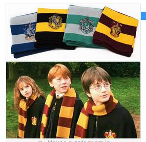 Bandana Foulard Cachecol 2015 New Fashion Harry Potter Scarf Scarves Gryffindor Hufflepuff Slytherin Knit Cosplay Costume Gift(China (Mainland))