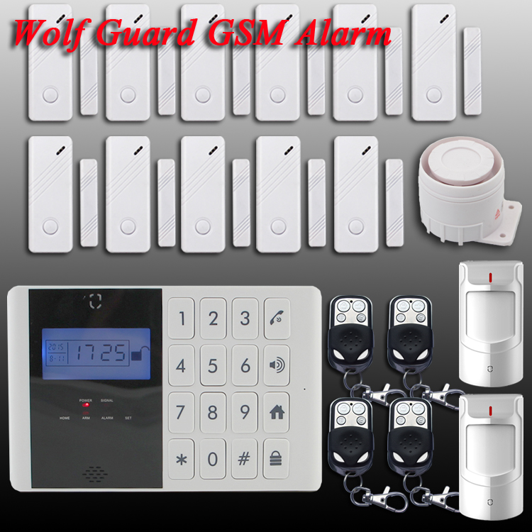 Free Shipping!Wolf-Guard quad4 band Screen display Wireless/Wired GSM Home Security Burglar Voice IOS Android App Alarm System
