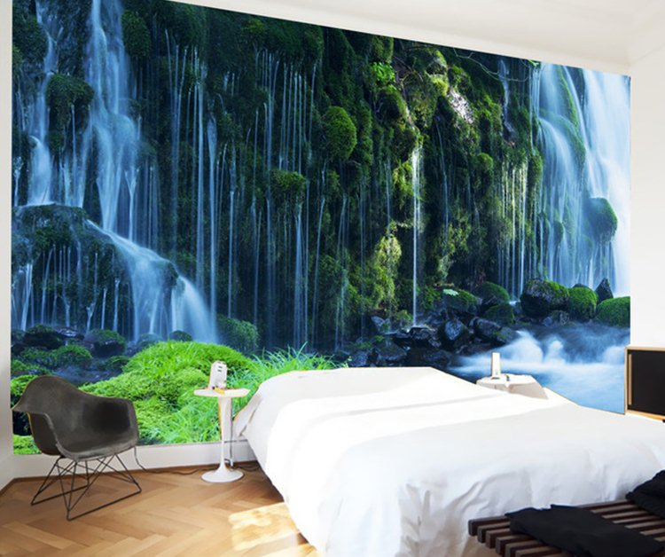 Waterfall landscape mural wallpaper natural scenery full for Deer landscape wall mural
