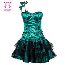 Gothic Green Appliques Steel Boned Corset Tutu Dress Burlesque Steampunk Halloween Costumes Women Sexy Plus Size Club Dresses