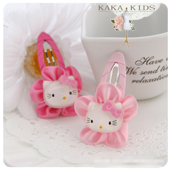 2pcs/lot Plastic hairpin children carton hair clip band rope sequins kt cat baby girl hair accessories kk1002(China (Mainland))