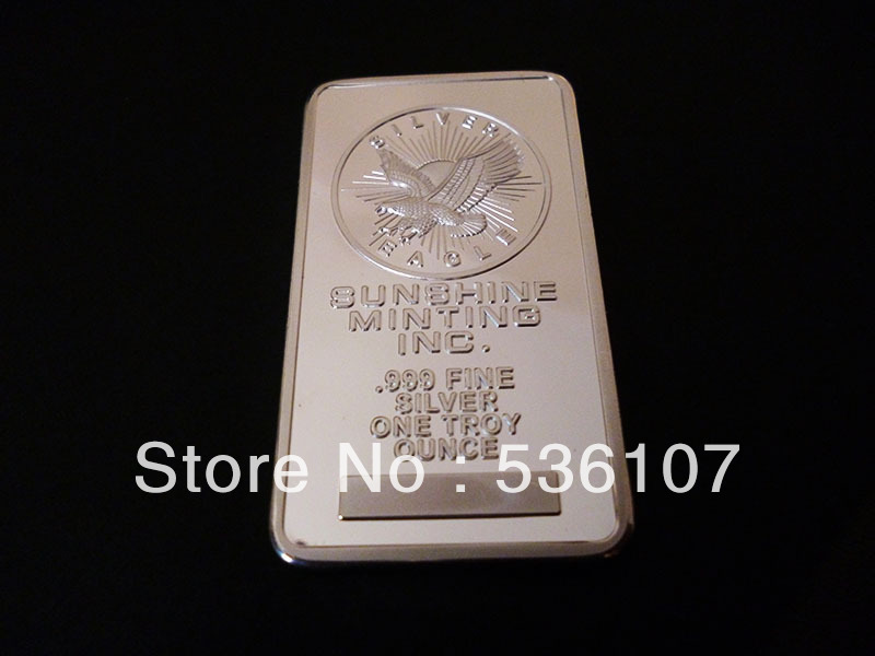 Brass fine silver sunshine Block clad coin sun Sliver clad coins euro morgan dollar souvenir bar(China (Mainland))
