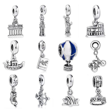 WYBEADS Unique Silver Beads Travel World Pendant European Charms Bead Fit Pandora Style Bracelet Bangle Original Jewelry Making(China (Mainland))