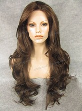 N12-6/8 Best Sales Top quality extra long brown curly synthetic lace front wig Free Shipping Haifa Wehbe Wig