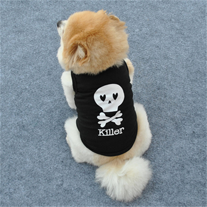 HIgh Quality Fashion Summer Cute Dog Pet Vest Puppy Printed Cotton T Shirt(China (Mainland))