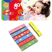 F98 hot-selling NEW Children Wooden Harmonica Instrument Kids Musical Educational Toy 1pc  free shipping(China (Mainland))