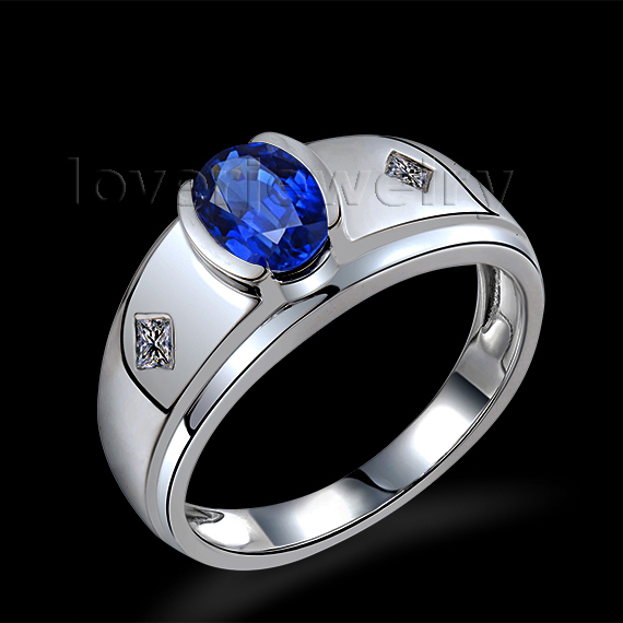 Design For  Men Sapphire  Ring In 18Kt White Gold,Natural Diamond Sapphire Mens Ring  Oval5x7mm WU292<br><br>Aliexpress