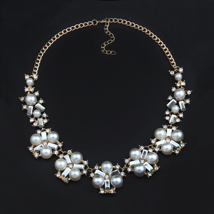 Aliexpress.com Comprar Moda 2016 de la Marca de Lujo de Perlas de Cristal Gargantilla Collares Mujeres Declaración Flor Del Rhinestone Collar de la Joyería