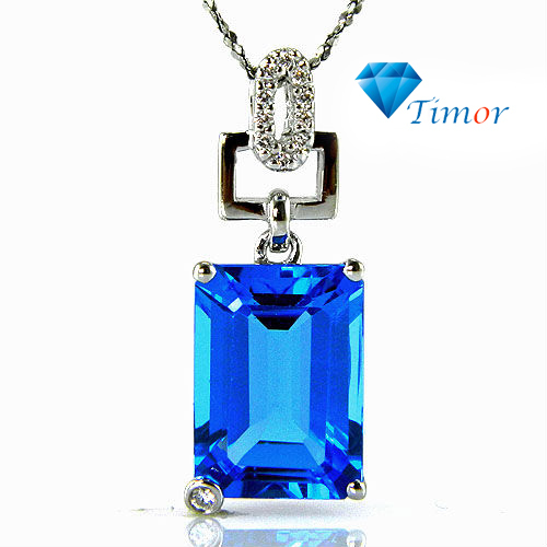 Wholesale New HOT Classic 7ct Natural Fine Jewelry Women Swiss Blue Topaz Necklaces Pendant 925 Silver Free Shipping