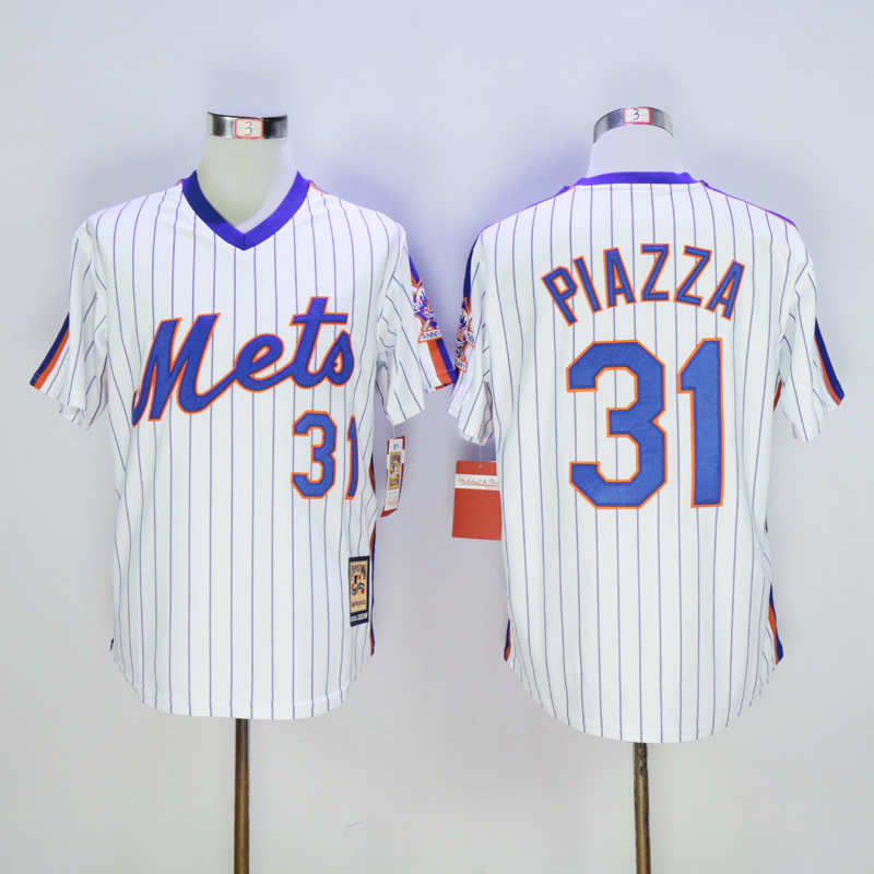 Men's Mike Piazza Jerseys New Yorkly Mets Baseball Jersey 1986 Throwback Mike Piazza Men's Stitched White Pinstripe Jerseys(China (Mainland))