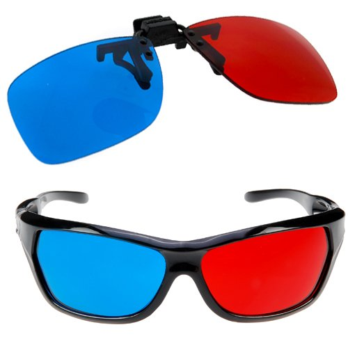 USA Stock! 2Pcs Red Blue 3D Plastic Glasses for 3D Movie Game Red for Left Blue for Right(China (Mainland))