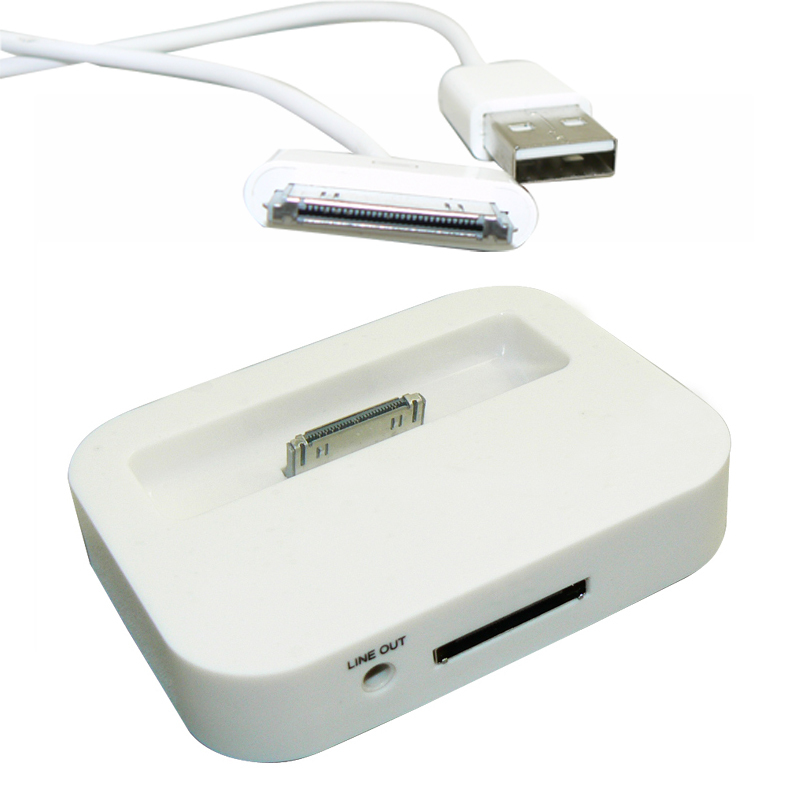 Dock Charger Data Sync 3.5 audio cable adapter docking Apple iPhone 4 4S iPod Nano Touch White/Black + free 30 pin usb - USBONLINEDIRECT Communication Co., Ltd. store