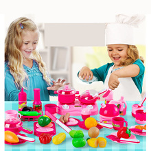 Hot 46pcs/set Kids kitchen play toys Fruit vegetable Cooking Pots Children Pans Dishes  Food cutting play Free shipping(China (Mainland))