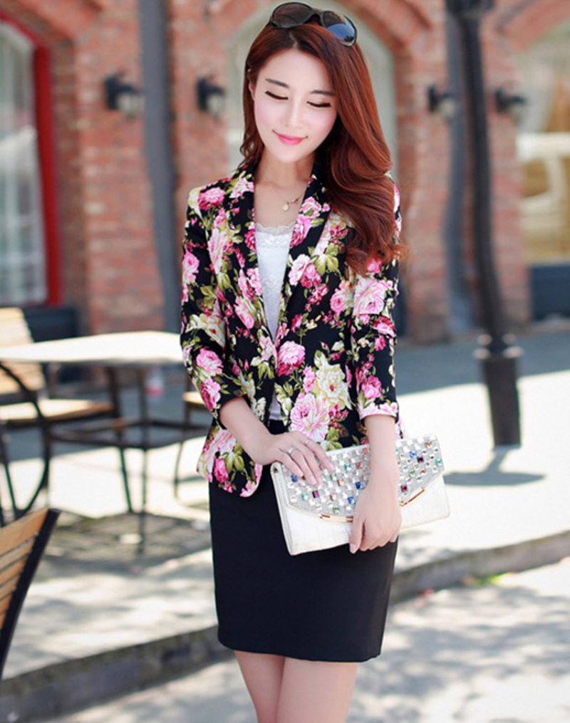 2016 spring new printing lady small suit leisure female short paragraph jacket(China (Mainland))