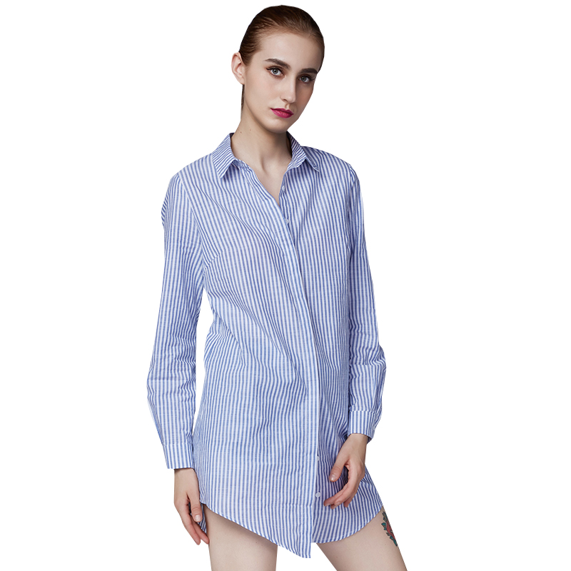 2016 summer women new blue casual striped shirt female long-sleeved shirt loose blouse stand collar(China (Mainland))