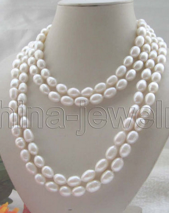 huij 001165 Beautiful long strand AAA 80 white baroque freshwater pearl necklace<br><br>Aliexpress
