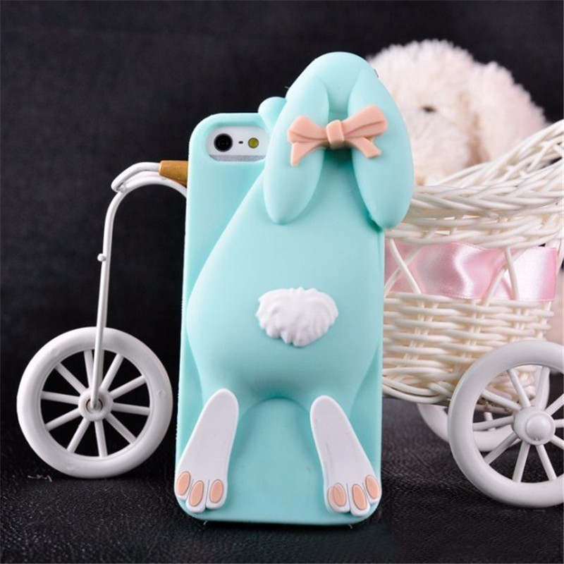 Case for iphone 5 5s SE 3D Cute cartoon cases Cover Bunny Rabbit Milk Box Coffee Bottle Rubber Soft Silicone Case(China (Mainland))