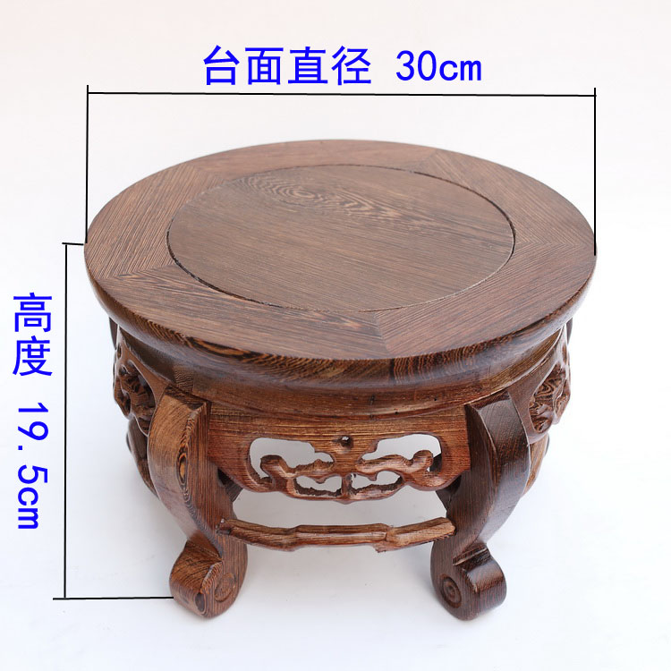 Red wood real wood household act the role ofing is tasted handicraft furnishing articles wenge vase tank round base on sale(China (Mainland))