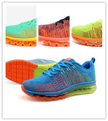 2014 max Men's Fly knit Hot sale men sport shoes men running shoes bright color ,light ,hard-wearing,shoes size US 7-12(China (Mainland))