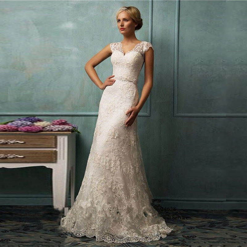 lace wedding dress v neck cap sleeve long train a line ivory wedding