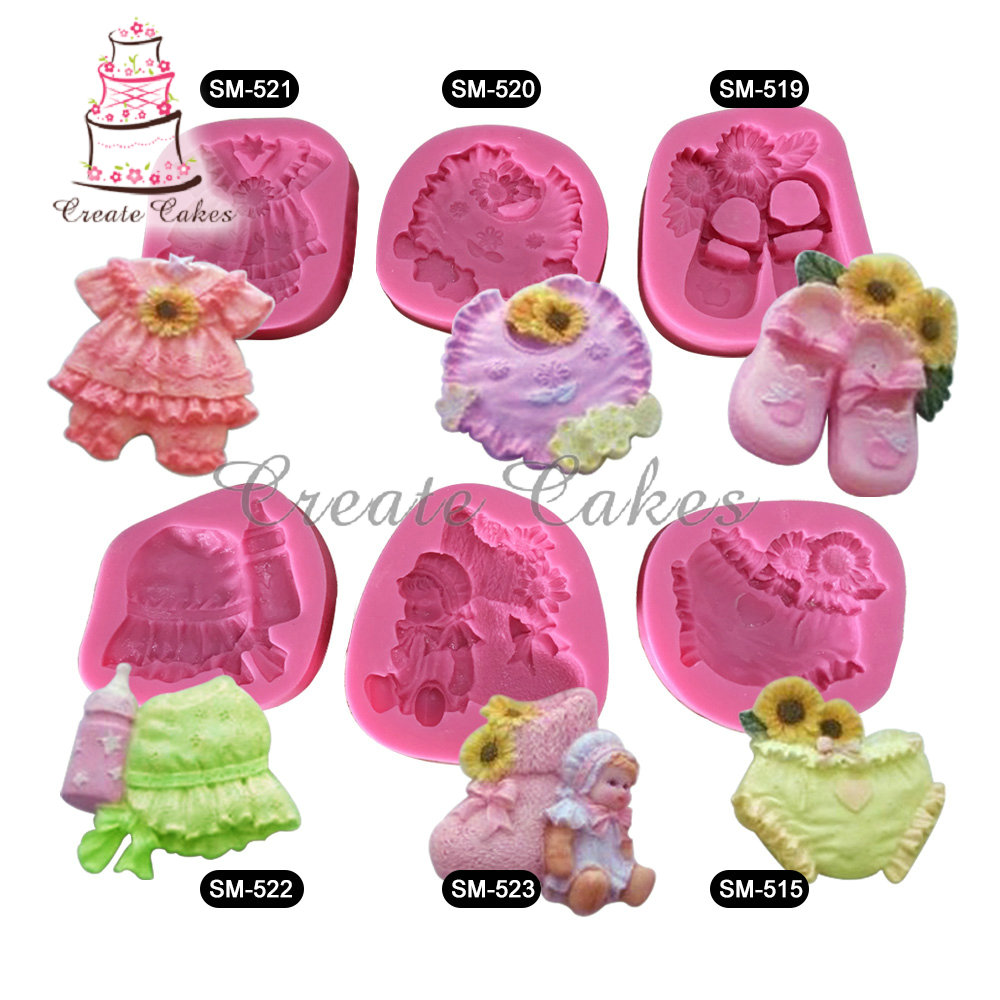 6pcs Baby Girl Clothes Cake Silicone Molds Shaped Silicone Mold Cake Decoration Fondant 3D Food Grade Silicone Mould SM-baby-01(China (Mainland))