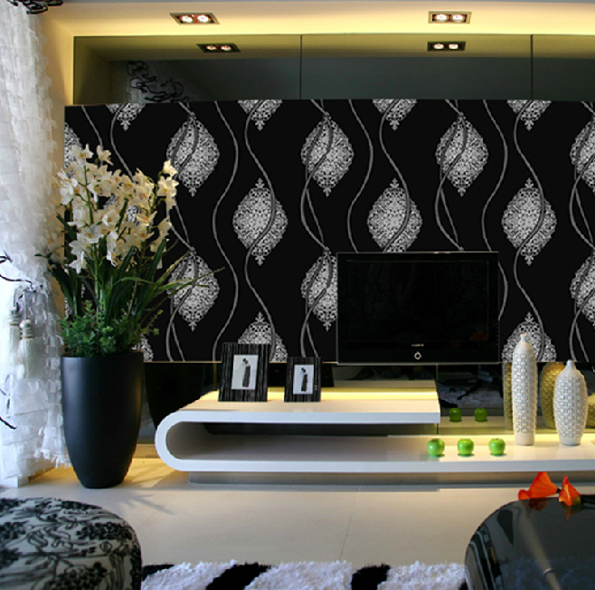 Black white glitter wall paper roll metallic silver black for Silver wallpaper living room