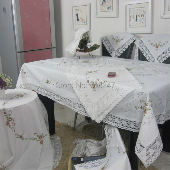 Hot sale elegant white cotton linen embroidery lace for White cotton table cloth