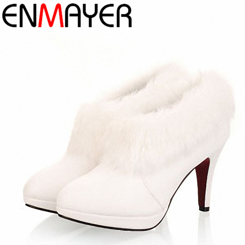 ENMAYER big size 34-43 White fur boots fashion single boots winter womens  high heel wedding shoes 2014 ankle boots new arrival<br><br>Aliexpress