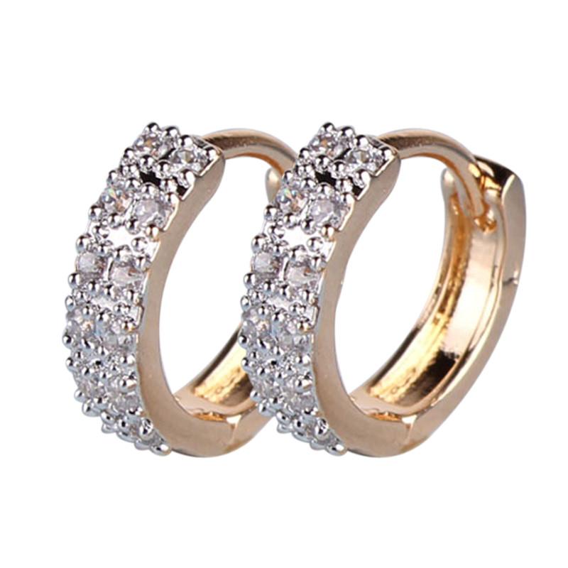 2016 Vintage Women Round Earrings Cubic Zirconia 18K Gold Plated Earings White Stone Crystal Luxury Circle Hoop Earrings Jewelry(China (Mainland))