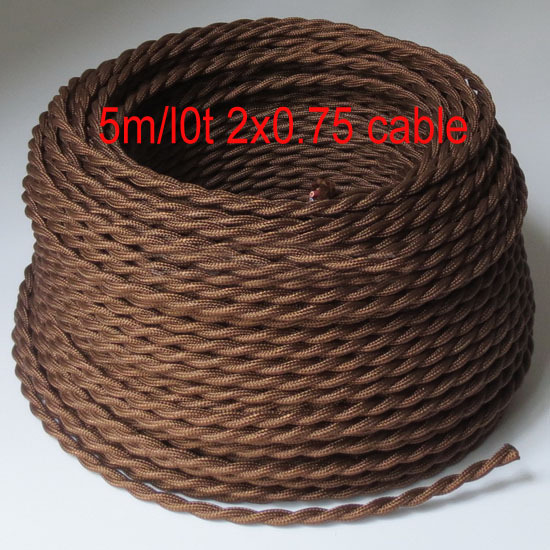 Гаджет  Brown color Vintage Twisted cable electric Wire Textile Lamp Cord Pendant lighting cable fabric None Свет и освещение