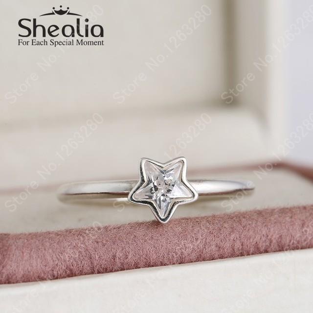 Shealia рождество ну вечеринку желание звезды кольца для женщин подлинным 925-Sterling-Silver с австрийским кристалл 2015 зима ювелирных украшений