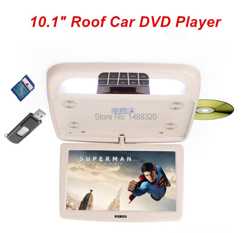 "Fashionable New Design Beige 10.1"" Roof Mount Car DVD Player Overhead Car Monitor + LED Digital Screen Game USB SD IR FM Speaker(China (Mainland))"