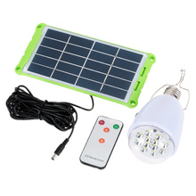 Rechargebal indoor lighting Dimmable E27 led solar lamp with remote control AC90~260V/DC6V outdoor lighting solar camping light(China (Mainland))