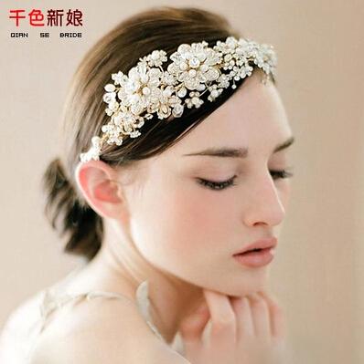 !Korea StyleLuxury Beaded Flower Bride Hair Accessory Crown Tiara 2Colors Wedding Jewelry Bridal Accessories QHG118 - ELEVEN JEWELRY store