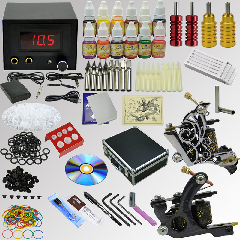 OPHIR Professional 2 Machine Gun Tattoo Kit 12 Colour Ink Pigment Needle Set_TA073