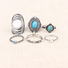 2015 6pcs/Set Midi ring Sets Boho Beach Vintage Rings For Women Artificial Sapphire Christmas Gift Free delivery Wholesale(China (Mainland))