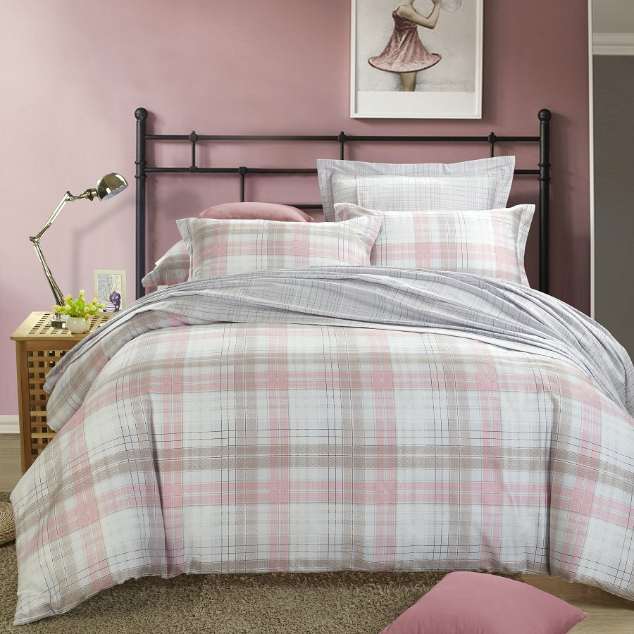 buy summer style plaid edredon 4pc bed set bed linen duvet cover bedding housse. Black Bedroom Furniture Sets. Home Design Ideas