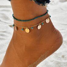 2019 新しい多層アンクレットブレスレット女性ゴールドハートリーフビーズアンクレットセットブレスレット脚に夏のビーチの宝石(China)