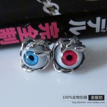 Magazine silver 925 pure silver artificial eye eyes stud earring accessories(China (Mainland))
