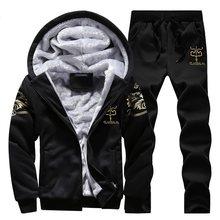 남성/여성 후드 캐주얼 tracksuit 2019 양털 까마귀 코트 + 긴 바지 가을 겨울 따뜻한 남성 인쇄 hoody 스웨터 정장 2 pc 세트(China)